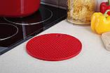 Подставка под горячее (силикон) красная Home Essentials B1160, фото 2