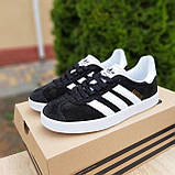 Жіночі кросівки в стилі Adidas Gazelle чорні з білим, фото 2