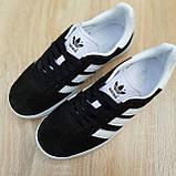 Жіночі кросівки в стилі Adidas Gazelle чорні з білим, фото 6