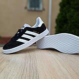 Жіночі кросівки в стилі Adidas Gazelle чорні з білим, фото 7