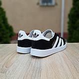 Жіночі кросівки в стилі Adidas Gazelle чорні з білим, фото 8