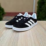 Жіночі кросівки в стилі Adidas Gazelle чорні з білим, фото 9