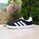 Жіночі кросівки в стилі Adidas Gazelle чорні з білим, фото 10