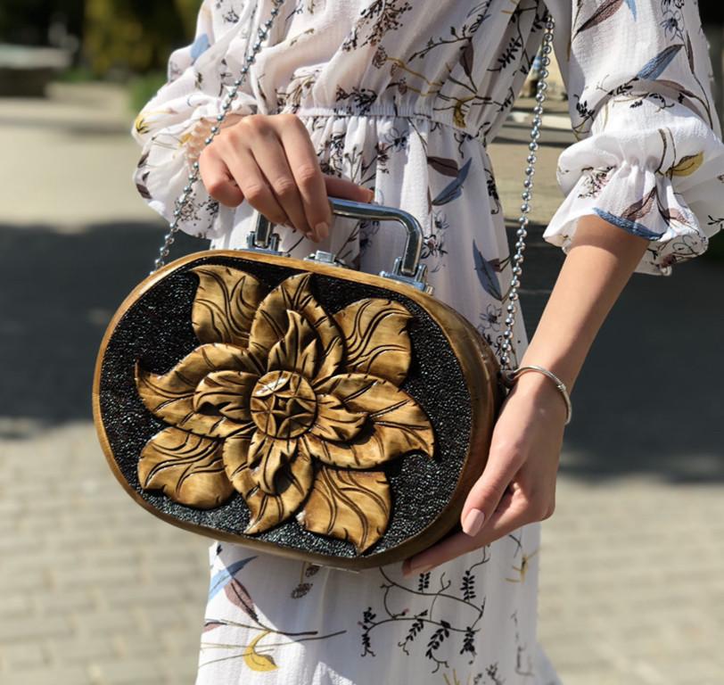 Женская резная сумка ручной работы из дерева STRYI, 25*18*8