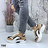Женские кроссовки на платформе 5 см, цвет коричневый комби, фото 3