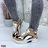 Женские кроссовки на платформе 5 см, цвет коричневый комби, фото 4