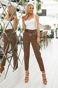 Женские укороченные брюки в полоску с завышенной талией
