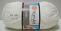 Нитки пряжа для вязания акриловая BABY YarnArt Беби Ярнарт № 501 - белый