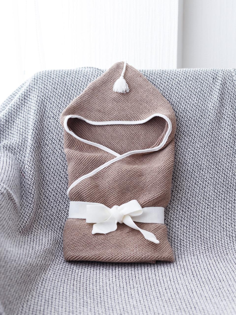Вязанный конверт- плед с кисточкой, коричневый