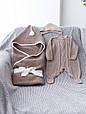 Вязанный конверт- плед с кисточкой, коричневый, фото 2