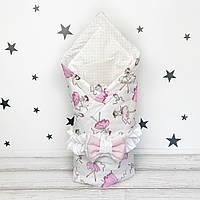 Летний конверт плед на выписку для новорожденного Oh My Kids Розовые балеринки