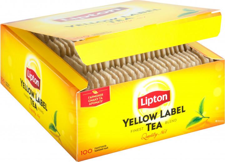 Чай Липтон черный пакетированный, Lipton Yellow Label, чай в пакетах, 100 шт