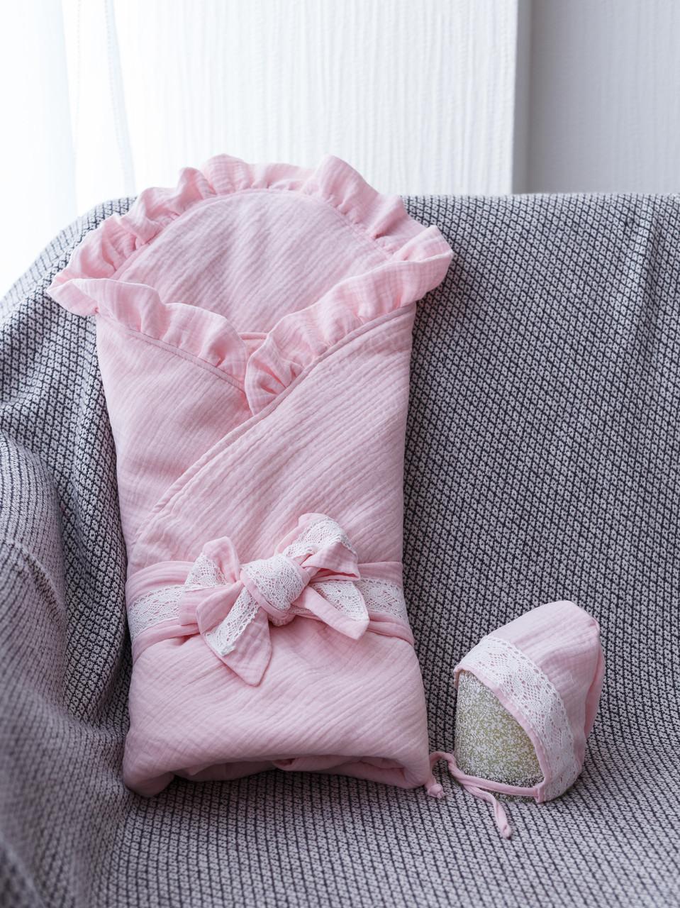 """Муслиновый конверт з шапочкою """"Shery"""", рожевий"""