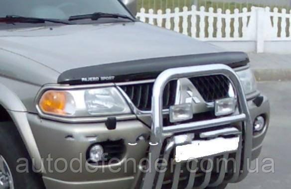 Дефлектор капота (Люкс!) мухобойка Mitsubishi Pajero Sport I 1998-2008, SIM, SMIPSP0012