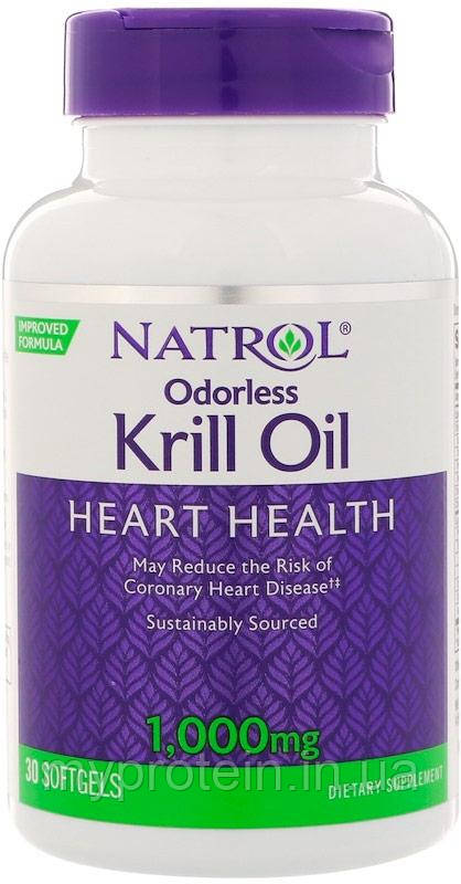 NatrolЗапах масла криляOdorless Krill Oil Heart Health 1000 mg30 softgels