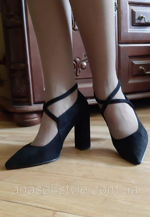 Женские туфли лодочки  Lino Marano  с ремешками широкий каблук эко-замша черные