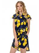 Летнее коттоновое платье - принт лимоны
