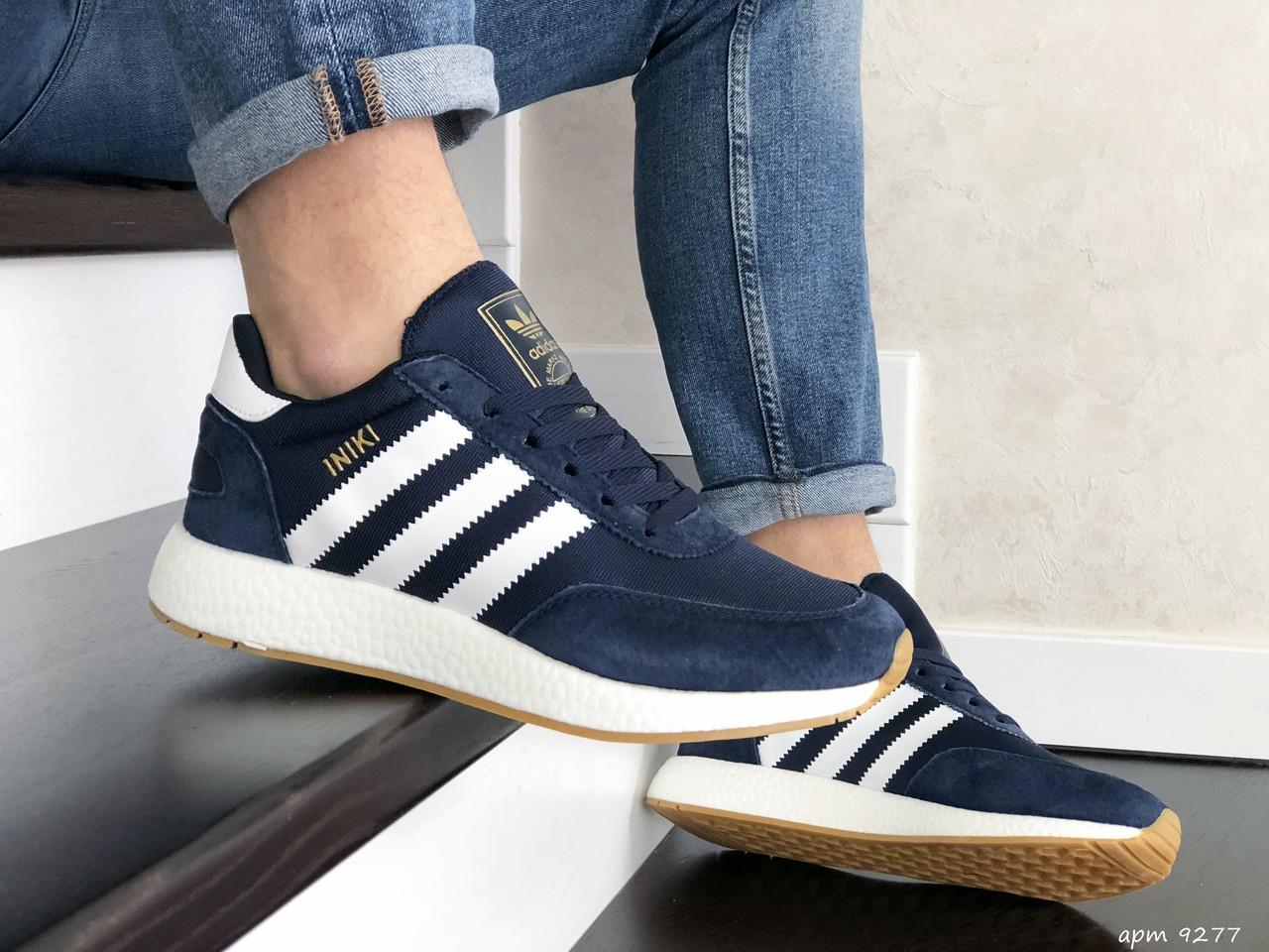Мужские кроссовки темно синие с белыми полосками эко замша с сеткой