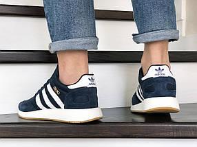 Мужские кроссовки темно синие с белыми полосками эко замша с сеткой, фото 3