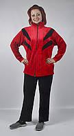 Женский велюровый спортивный костюм больших размеров   (черный/красный)