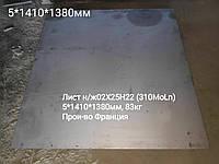Лист нержавеющий 5мм 02х25н22 (310MoLN) жаропрочный