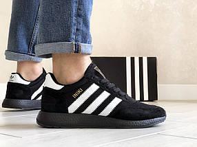 Мужские кроссовки черные с белыми полосками эко замша с сеткой, фото 2