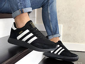 Мужские кроссовки черные с белыми полосками эко замша с сеткой, фото 3
