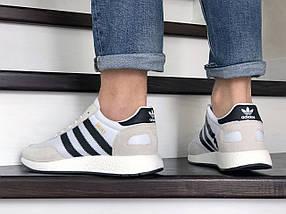 Мужские кроссовки бежевые с черными полосками эко замша с сеткой, фото 3