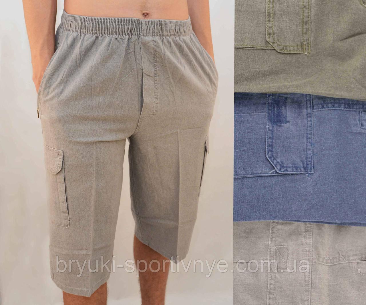 Бриджи мужские летние льняные с накладными карманами  Шорты лен Норма от XL до 5XL Серый