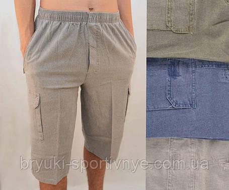 Бриджи мужские летние льняные с накладными карманами  Шорты лен Норма от XL до 5XL Серый, фото 2
