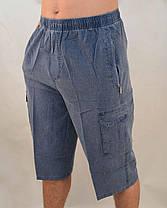 Бриджи мужские летние льняные с накладными карманами  Шорты лен Норма от XL до 5XL Серый, фото 3