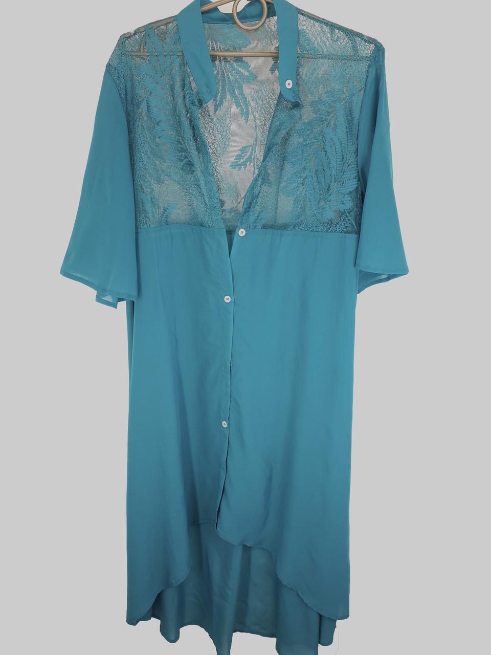 Длинная пляжная рубашка кимоно с гипюром Z. Five 145 бирюзовая на 50-54 размер