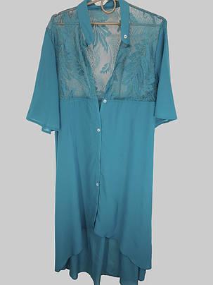 Длинная пляжная рубашка кимоно с гипюром Z. Five 145 бирюзовая на 50-54 размер, фото 2