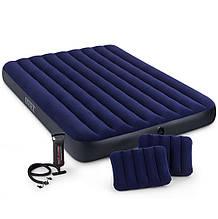 Матрас двухместный надувной 2 подушки ручной насос 152х203х25 Intex 64765