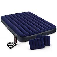 Надувной матрас Intex 64765 203х152х25 двухместный 2 подушки ручной насос