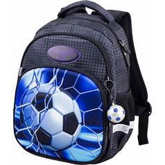 Рюкзак для мальчика Winner черный с футбольным мячом  1709