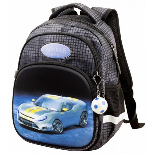 Рюкзак для мальчика Winner черный с машиной 1711
