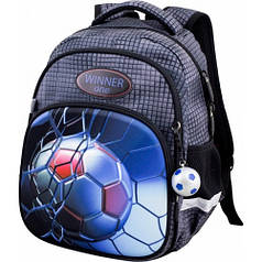 Рюкзак для мальчика Winner черный с футбольным мячом  1712