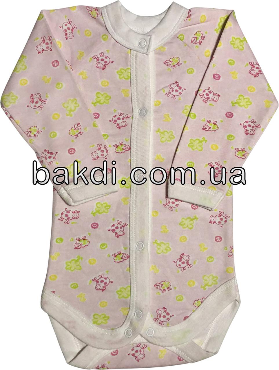 Детское тёплое боди с начёсом рост 68 3-6 мес хлопковое футер розовое на девочку бодик с длинным рукавом для новорожденных малышей Р123
