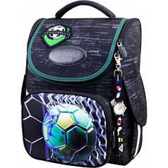 Рюкзак для мальчика Winner черный с мячом 2050