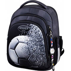 Рюкзак для мальчика Winner черный с футбольным мячом 5010