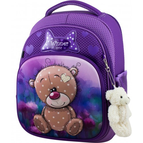 Рюкзак для девочки Winner фиолетовый с мишкой  7006