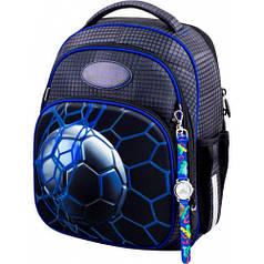Рюкзак для мальчика Winner черный с футбольным мячом  7010