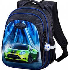 Рюкзак для мальчика Winner черный с машиной R2-167