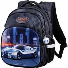 Рюкзак для мальчика Winner черный с машиной R3-225