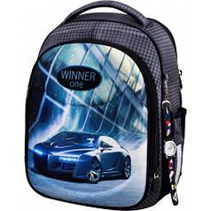 Рюкзак для мальчика Winner черный с машиной 6016