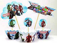 """Набор для капкейков: """"Супергерои/Мстители"""" топперы и накладки на корзинки (8+8+1+1)-малотиражные издания-"""