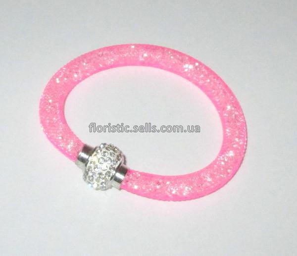 Браслет Сеточка со стразами, розовый