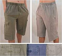 Бриджи мужские летние льняные с накладными карманами  Шорты лен XL Серый