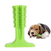 Зубная силиконовая щётка для собак Petolls S 7х10х3 см Зелёная (SD31), фото 1